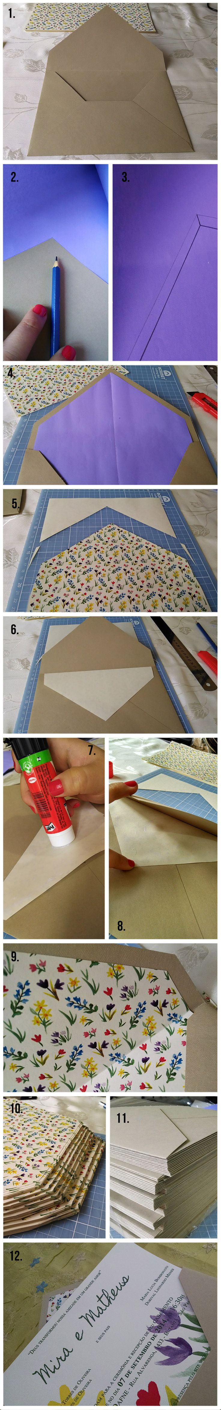 Passo a Passo: Convite com Forro - Como forrar envelopes para convites