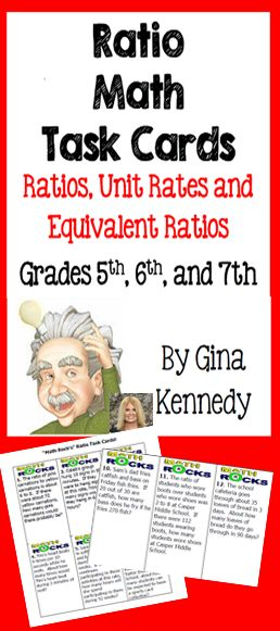 "A set of 30 task cards to provide your students additional practice with ratios, unit rates, and equivalent ratios. This would be an excellent way to introduce ratios to your class or check for understanding.  The task cards can be used for practice, math centers and reviews. Cut them out, laminate them and keep them as part of your permanent ""Ratio Math Folder"". Common Core Aligned:6.RP.A.1 $"