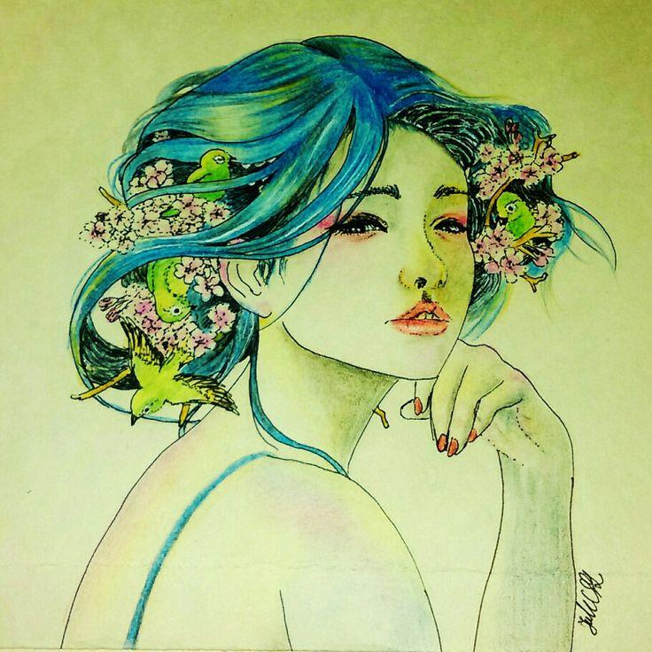 By JuhVik bird. girl. lady.