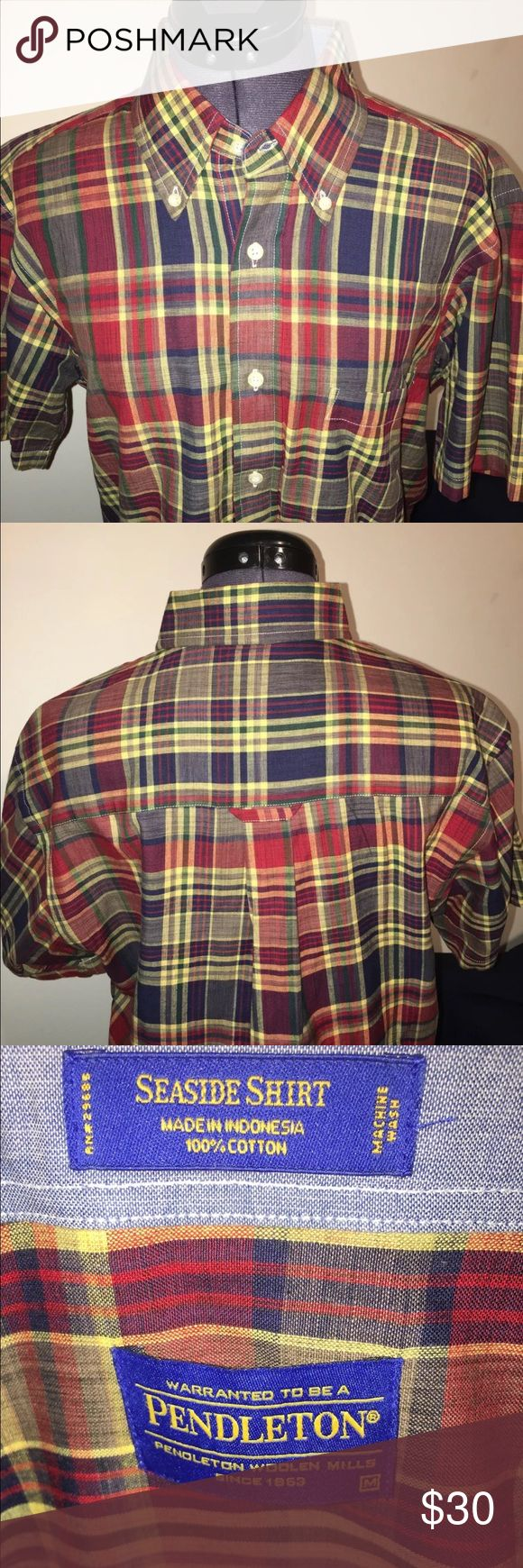 Men's Brand New Multicolor Pendleton shirt medium Hey guys! Omg how cool is this Pendleton!? In this listing you are purchasing a men's red, yellow, blue & green seaside Pendleton shirt. This shirt is a size Medium and measures 15.5 inches across the chest and top to bottom is 28 inches long. This item  has been worn only a few times and it's in excellent condition! Pendleton Shirts Casual Button Down Shirts