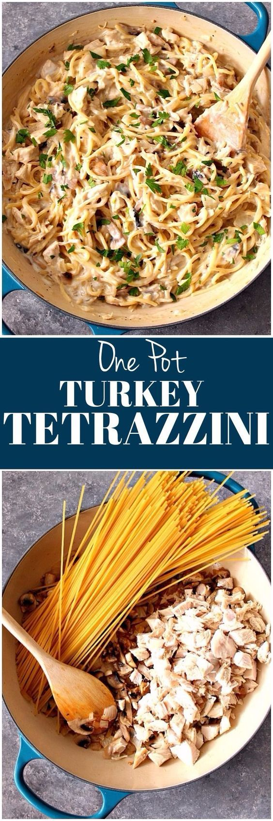 One Pot Turkey Tetrazzini Recipe - quick and easy dish with leftover turkey meat, creamy mushroom garlic sauce and noodles. www.crunchycreamysweet.com
