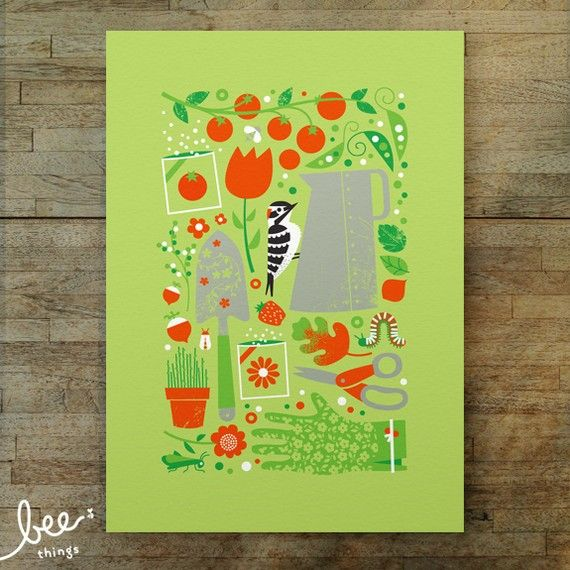 garden woodpecker limited edition print by beethings on Etsy