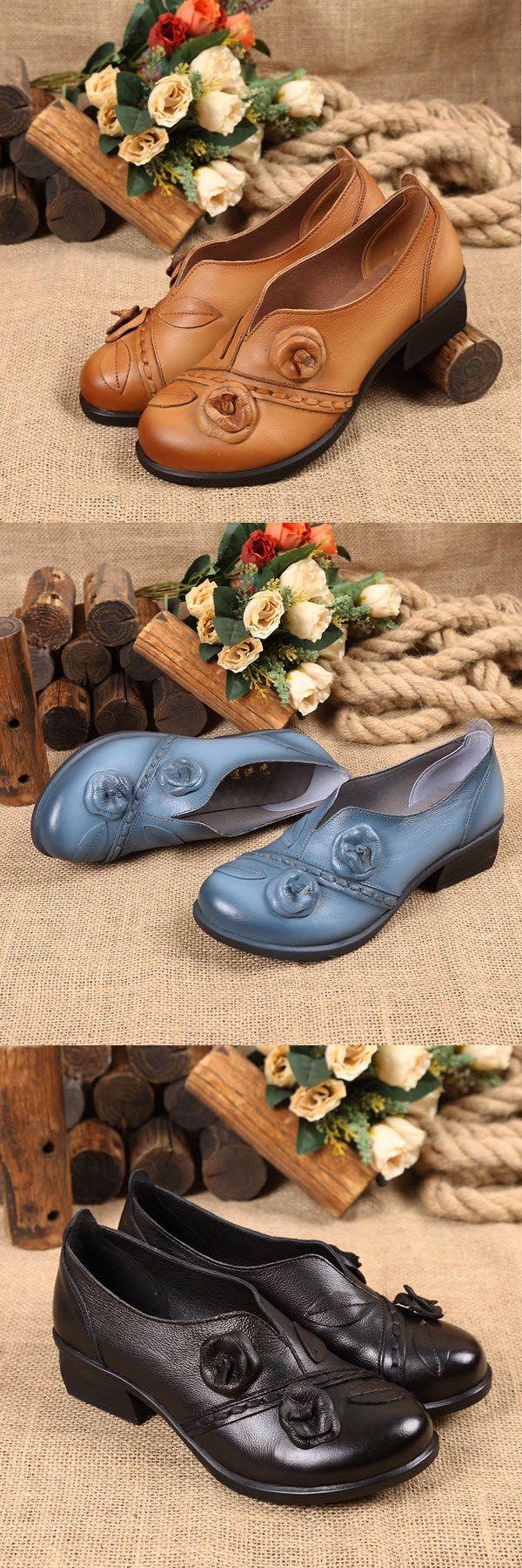 US$27.62  SOCOFY Flower Retro Mid Heel Original Folkways Handmade Shoes_Handmade Flats_Women's Leather Flats
