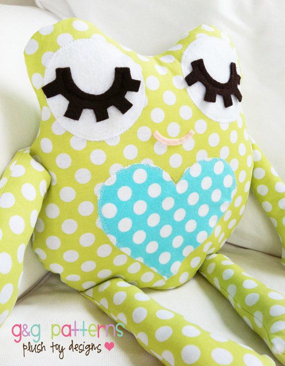 Frog Sewing Pattern - Frog Pillow Softie Fabric Toy - PDF Sewing Pattern
