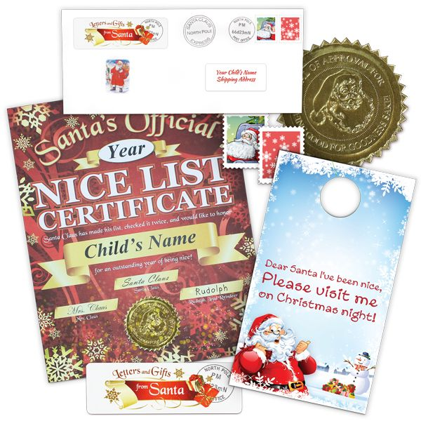 Nice List Certificate with Door Hanger From Santa