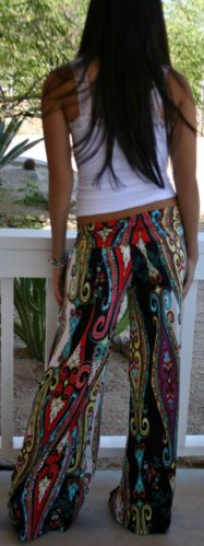 Ebay- Foldover Hippie Black Tribal Paisley Boho Wide Leg Tall Yoga Pants Palazzo. Medium $29.95