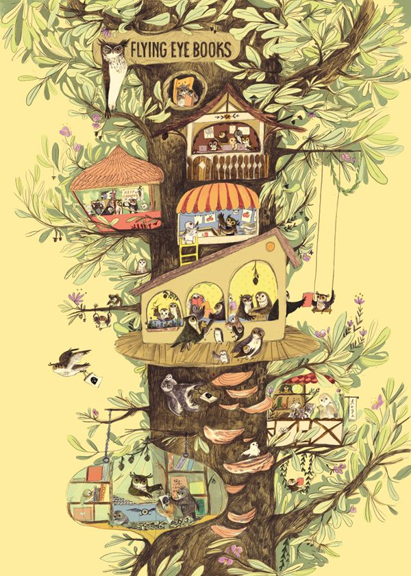 """Emily Hughes""  A little owl book company in a tree"