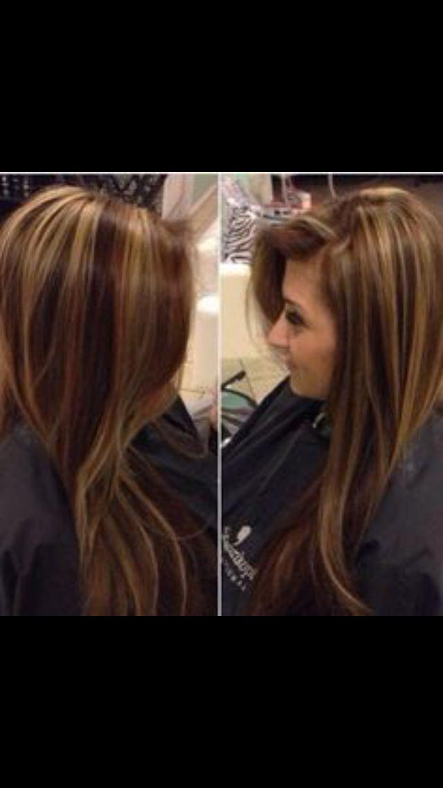 Dark brown and Carmel / blonde highlights