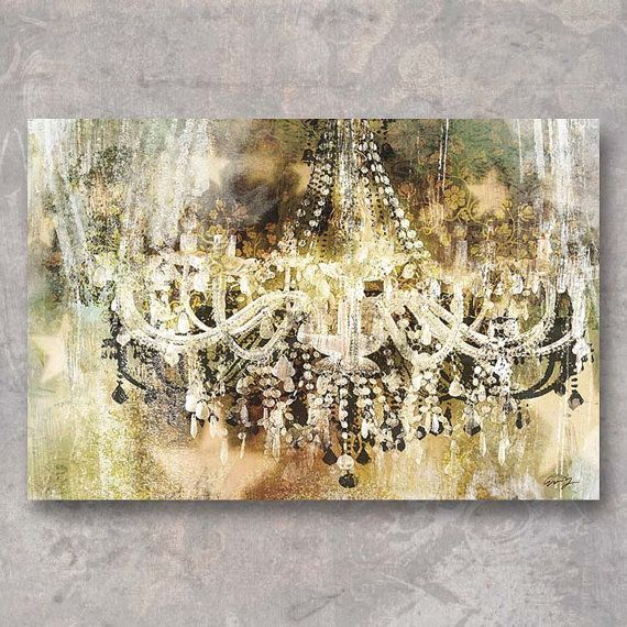 VINTAGE CRYSTAL CHANDELIER  • Exquisitely printed on stretched canvas, with high quality, hand-finished natural wooden frame.  • Canvas print