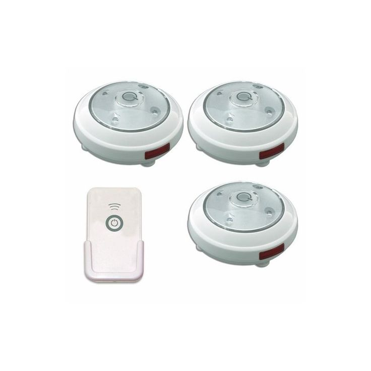 3 Pack LED Battery Operated Puck Light with Remote Control, Rite Lite, LPL623WRC