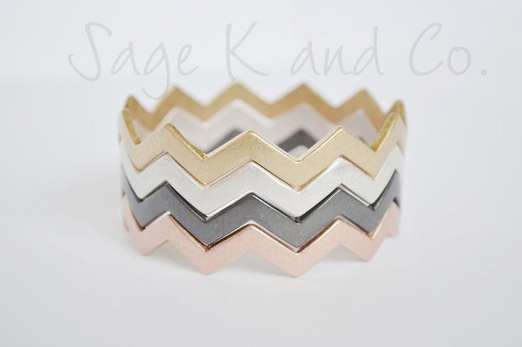 Chevron Zig Zag Bangle Bracelets Set of 4- Gold, Silver, Gunmetal Black, Rode gold. $16.99, via Etsy.