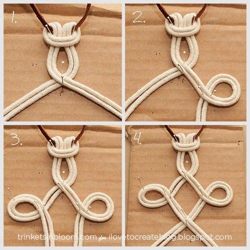 DIY Dip colorante Macram� Collar, para este nudo debe tener ds cuerdas de 30 cms de largo