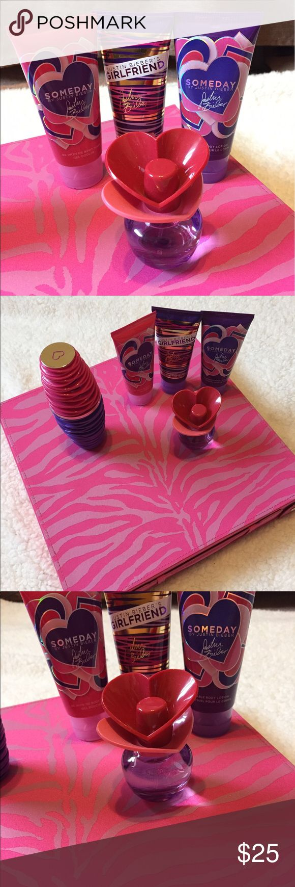 Justin Bieber lotion, body wash, and perfume 5 items for one price! This comes with the Justin Bieber Someday  body wash and Someday body lotion as well as the Someday perfume! I'm also including Justin Bieber's Girlfriend body lotion with the Girlfriend perfume! All of this has never been used! Other