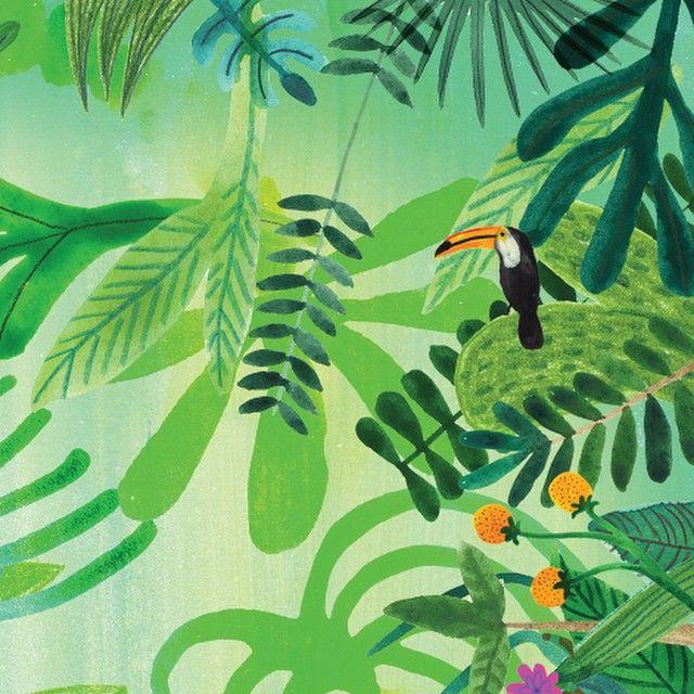 More tropicana #illustration #toucan #watercolour #gouache #pencil #plants #jungle