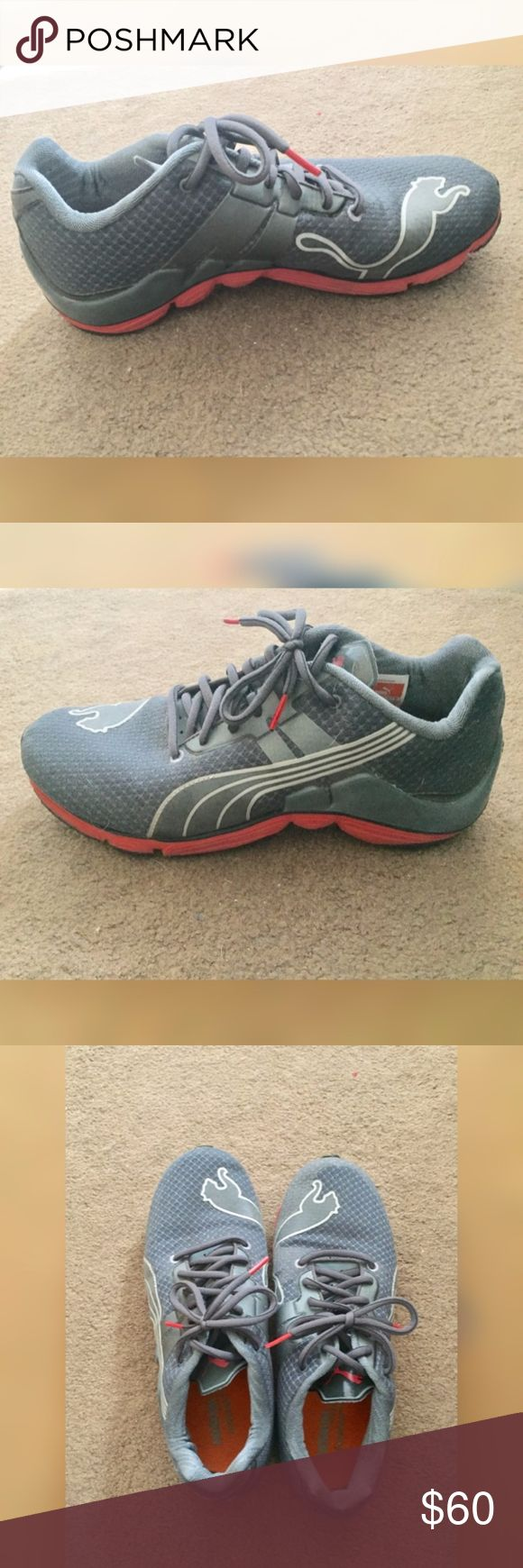 🔥SALE🔥 Men's Puma Running Shoes Men's Puma athletic shoes. Perfect for running and going to the gym.  Great condition.  Grey and Red. Puma Shoes Athletic Shoes