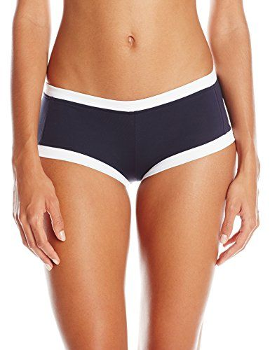 Seafolly Women's Block Party Boyleg Bikini Bottom, Indigo, 8. Boy-leg bikini bottom featuring contrast banding and tonal seaming. Full coverage.