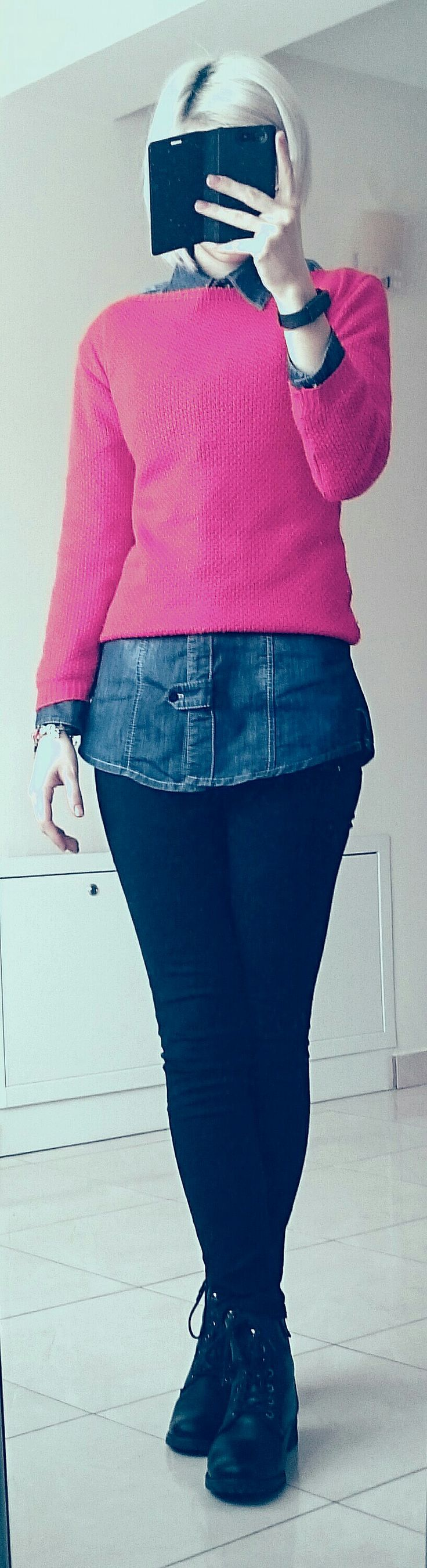 OOTD: blue denim shirt, coral red pullover, black skinny ankle jeans, black combat boots  Combine that with black mascara and matte red lipstick