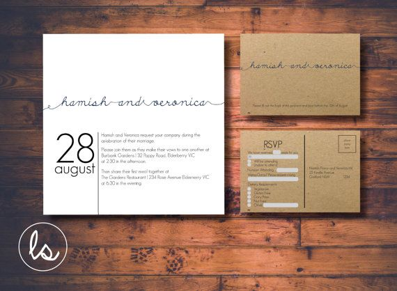 White and Kraft Square Wedding Invitation Set ~ DIY PRINTABLE ~ Professional Printing with envelopes and postage included