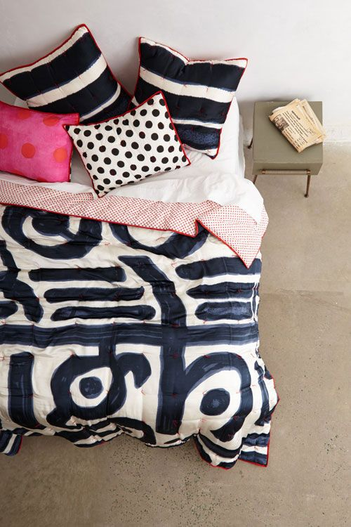 paola navone for anthropologiei know it's about the bedding, but it's like tribal art.