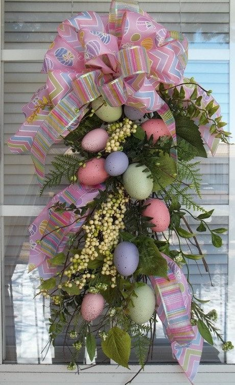 """EASTER EGG HUNT"" - Easter/Spring Decorative Teardrop Swag Decorations by DecorClassicFlorals, $72.95"