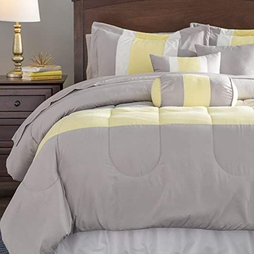 Hnu 10 Piece Modern Classic Yellow Grey Comforter King Microfiber Polyester Chan Chan Classic Comforter Grey Hnu King Microfiber Modern Piece Polyes In 2020