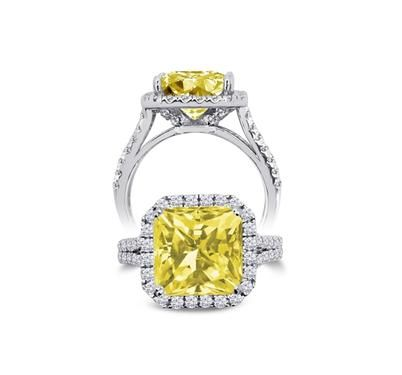Sterling Silver Radiant Cut Simulated Canary Yellow Diamond Halo Engagement Ring