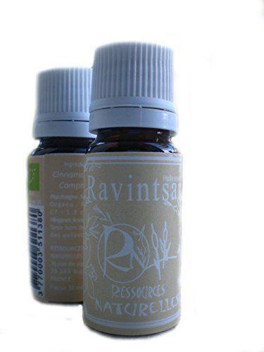 Ressources Naturelles - Huile Essentielle Ravintsara Bio 10 Ml Price:     Composition : 100 % de Cinnamomum camphora bio. Organe distillé : feuilles. Allergènes : limonène, linal...