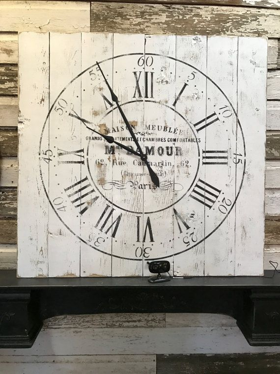 Large Wooden Clock Part - 48: Large Wooden Clock Pallet Style Clock French Country Wall