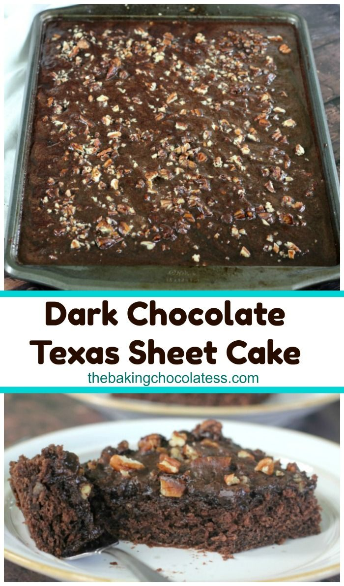 Southern Dark Chocolate Texas Sheet Cake - Ummmseriously! Southern Dark Chocolate Texas Sheet Cake has some Dark secrets! Dark Chocolate secrets, that is! It's got a modern twist and there's no buttermilk or cinnamon. The best part is the chocolate pecan frosting that melts into the cake. *Swoon-Time* via @https://www.pinterest.com/BaknChocolaTess/