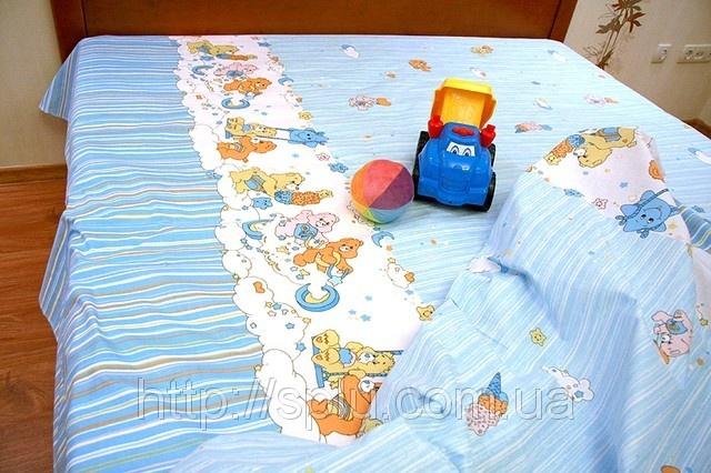 Детский голубой хлопковый комплект с мишками, фото 1