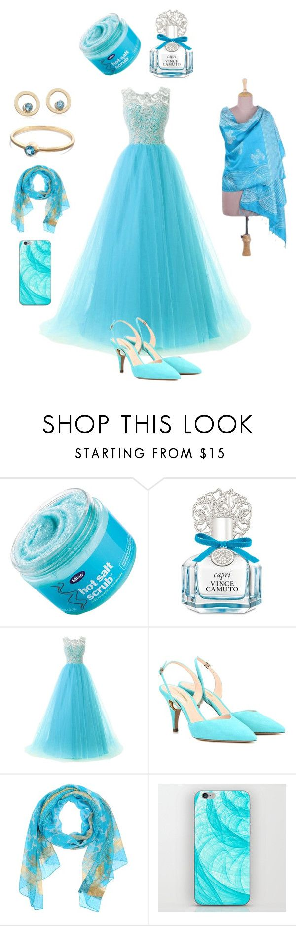 """Turquoise"" by tdncreations ❤ liked on Polyvore featuring Bliss, Vince Camuto, Nicholas Kirkwood, Versace and NOVICA"