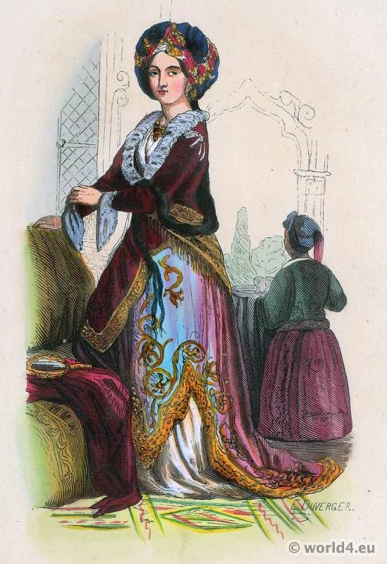 Turkish noble lady, 1843. Ottoman Empire costumes Archive - Costume and Fashion History