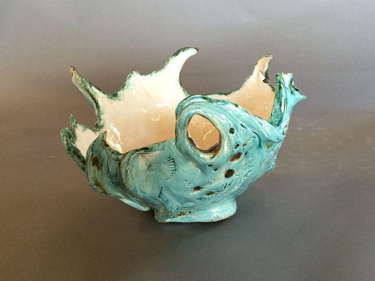 Ocean Bowl - Functional Sculpture  By Jennifer Joyce picoclay@gmail.com