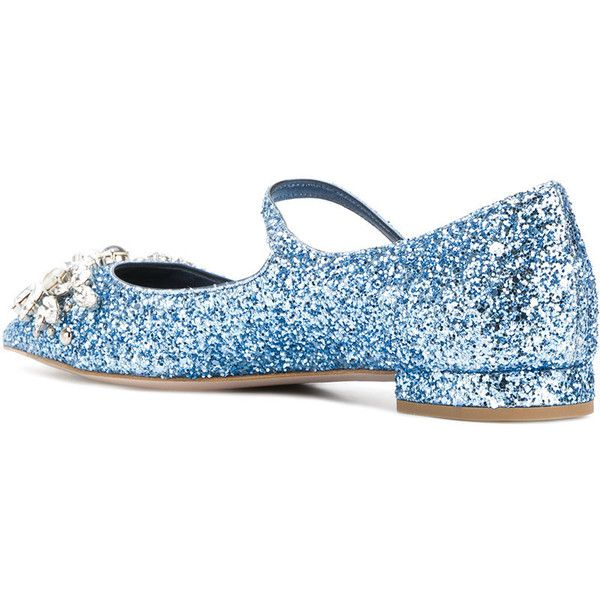 Miu Miu glittered ballerina shoes ($1,040) ❤ liked on Polyvore featuring shoes, flats, blue flats, glitter flats, pointed toe flats, ballet flat shoes and ankle strap ballet flats