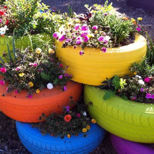 Tire Gardens - wow, talk about recycling