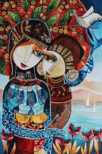 """Galerie Vers un nouveau monde """"Le jour du grand voyage"""" 60 x 90 cm - Technique mixte Laure Ketfa"""