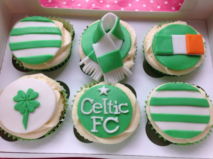 Custom Celtic FC cupcakes for a special fan