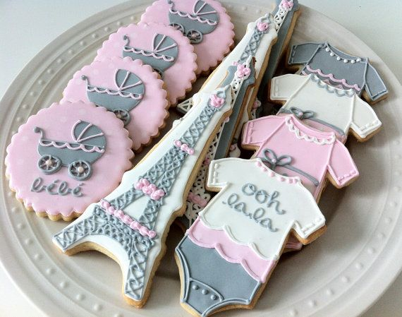 Decorated French Themed Baby Shower Cookies, onesies, eiffel tower, parisian bebe carriage on Etsy, $48.00