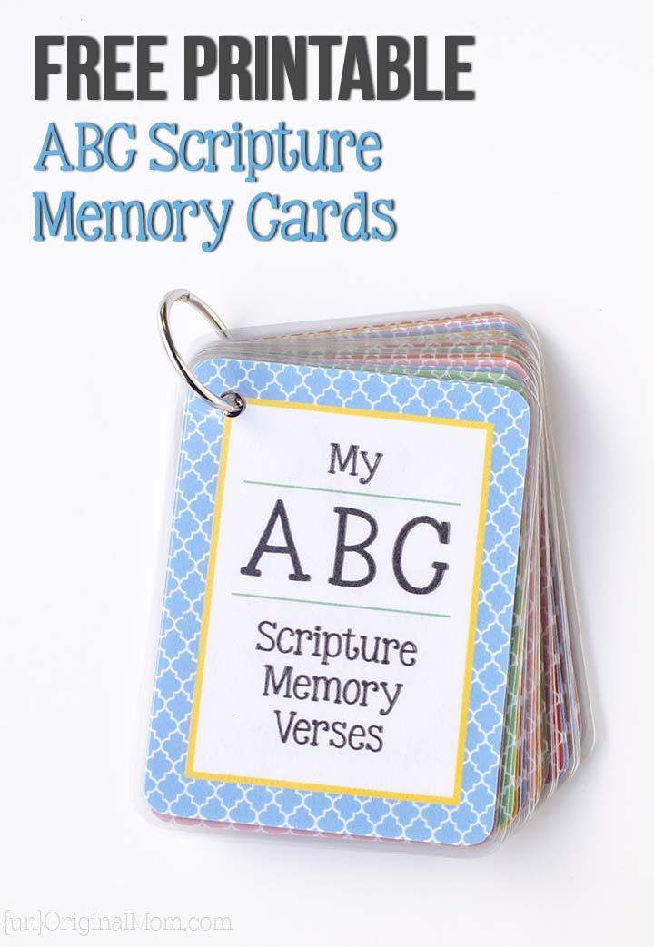 Free printable ABC scripture memory cards - plus a free cut file to use with a laminator to make your own!