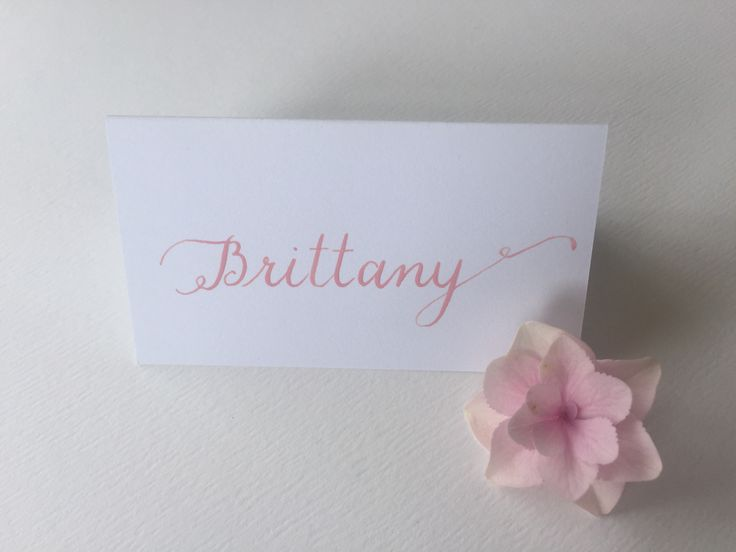 Classic, formal flourished font. Blush calligraphy on white place cards.