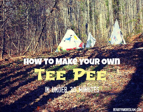 Making a tee pee @beautyandbedlamdotcom