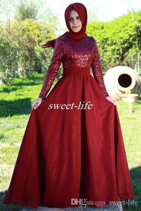 Arabic Style Hijab Muslim Formal Evening Dresses with Long Sleeve Sparkly Dark Red Sequins 2016 Cheap Plus Size Prom Gowns Women Party Dress Online with $102.01/Piece on Sweet-life's Store | DHgate.com