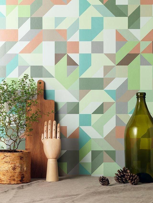 Opvallende en moderne behang prints voor in het interieur. Behang prints met gekke patronen, opvallende kleuren en moderne vormen. Inspiratie voor interieur