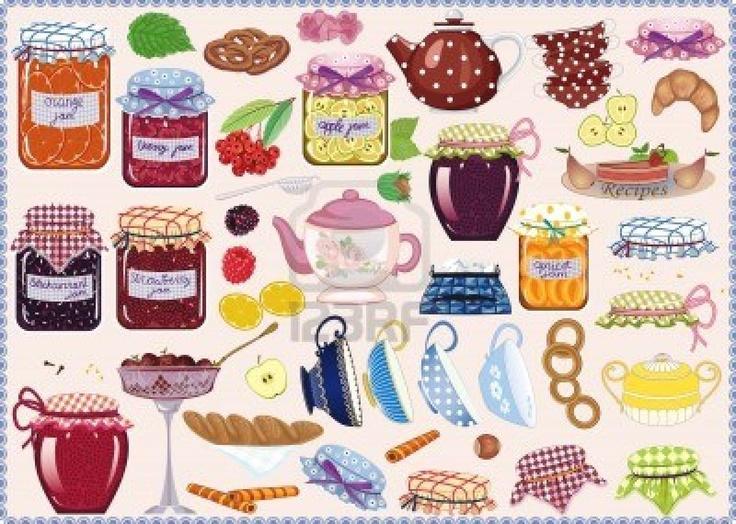Tea colección de frascos de mermeladas, tazas de té, teteras, frutas y repostería Foto de archivo