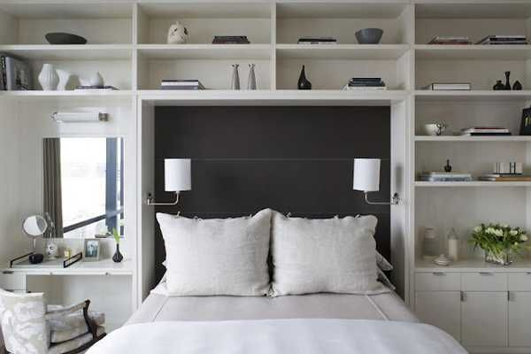 shelves around the bed