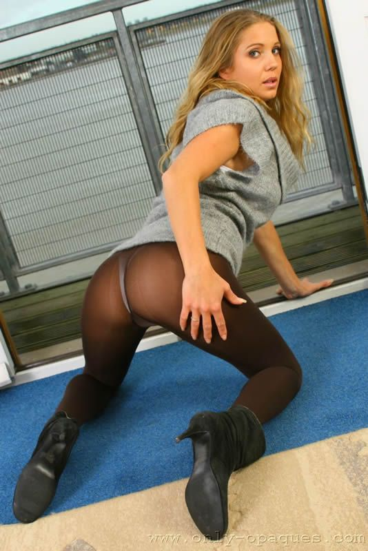 Brooke W in Black Pantyhose