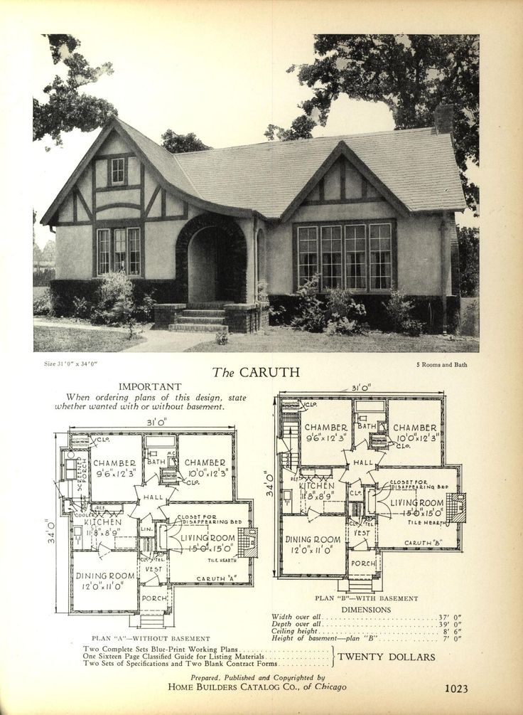 The caruth home builders catalog plans of all types of small homes by home builders catalog co