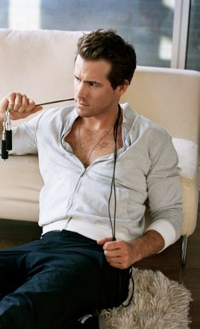 For a casual look around the house, put in Ryan Reynolds shirtless wearing a zip-up sweatshirt.