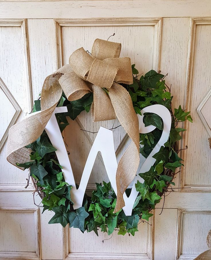 Monogram Front door wreath, Greenery Wreath - Wreath Great for All Year Round - Everyday Burlap Wreath, Door Wreath, Front Door Wreath by FarmHouseFloraLs on Etsy