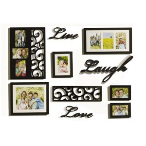 melannco 10 piece live love laugh picture frame set black
